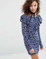 House of Holland Blue Zebra Tiger Print Ruffle 80s Style Dress❤️DESIGNER👗❤️BNWT