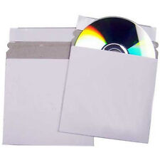 100 CD DVD Cardboard Sleeves Peel and Seal Envelopes / Mailers White
