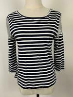 Seed Heritage Women's Sequin Shoulder Black Striped Top Sz S A5 ~Free AU Post!