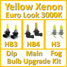 Warm White 3000K Yellow Xenon Headlight Bulb Set Main Dip Fog HB3 HB4 H3 Kit