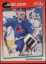 Jacques Cloutier Nordiques Autographed 1991 Score #236R Hockey Card JSA 16H