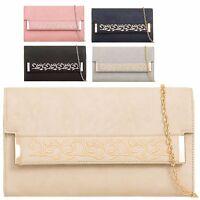 Ladies Floral Faux Leather Envelope Style Clutch Bag Handbag Purse Wallet KT814