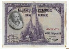 ESPAÑA: 100 PESETAS CERVANTES. AÑO 1928. CON o SIN SERIE. RC+. ENVIO GRATIS.