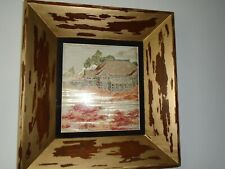 More details for japanese embroidery picture set within unusual frame nice colours