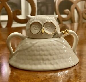 anthropologie Owl Sugar Bowl with Spoon By Florence Balducci