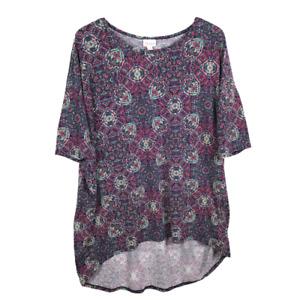 Lularoe Irma Womens Tunic Top Size XL Purple Paisley Half Sleeve High Low Hem