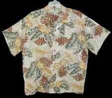 Sz XXL Hawaiian Aloha Shirt ISLAND SHORES Rayon TROPICAL LEAVES Tan Multi 2XL