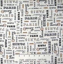 French Fabric - Paris Panache Words on Cream - Robert Kaufman YARD