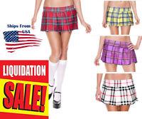 Punk Goth Stretch School Girl Tartan Pleated Short Mini Skirt Plaid/Solid S-L US