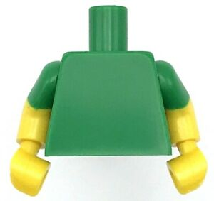 Lego New Green Minifig Torso Plain Yellow Arms with Green Short Sleeves Pattern