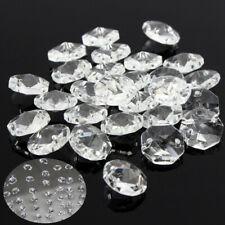 50PCS Chandelier Clear Glass Crystal Octagonal Lamp Prism Bead Drop Pendant 14mm