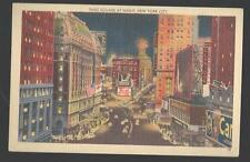c1940 Times Square at Night NY City New York Pepsi Camel Aster Hotel Postcard
