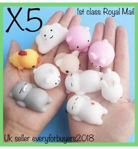 Cute Mochi Squishies Kids Toys Animal Fidget moshi Cute Kawaii Rilakkuma 5 Pack