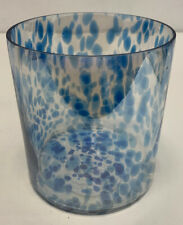 Pottery Barn Spotted Blue Hurricane Glass Candle Holder 5.60 inches tall NEW