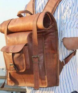 Real Backpack Leather Travel Bag Rucksack Handmade Laptop Brown Large bag Men's