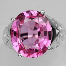 DAZZLING! HOT PINK TOPAZ MAIN STONE 13.77 CT. STERLING 925 SILVER RING SIZE 9.75