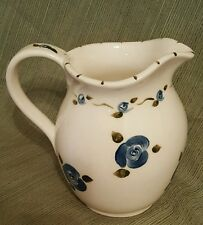 """Lovely hand painted 7"""" pitcher cream with blue roses made USA floral decorative"""