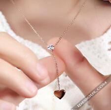 Damen Gold 18K Halskette + Anhänger vergoldet Kette Herz Glücksbringer Schmuck