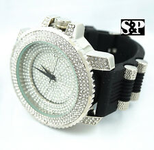 Men Luxury Hip Hop Iced Out White Gold PT Micro Pave Rapper's Rubber Band Watch