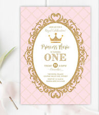 Princess First 1st Birthday Invitation Pink Gold Party Royal Crown Baby Invite