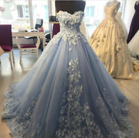 Strapless Floral Blue Wedding Dresses Sweetheart Lace Applique Lace up Back Gown