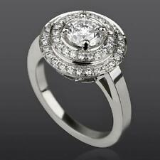 LADY HALO DIAMOND RING 18K WHITE GOLD 4 PRONG NATURAL 2.4 CT SIZE 5.5 6.5 7.5