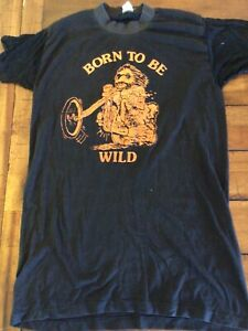 Vintage Motorcycle Shirt Born to be Wild Chopper Harley 1970s Single Stitch