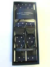 ALBERT THURSTON LEATHER END BRACES PINK /& NAVY BLUE SPOT