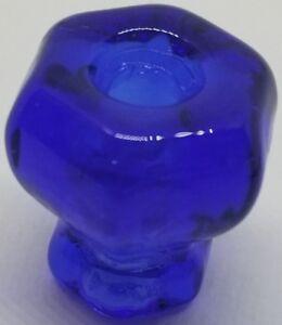 "1"" COBALT BLUE HEXAGONAL Glass Knob 1 inch Hexagon antique vintage old retro pan"