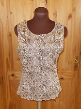 WALLIS brown beige black leopard print stretch camisole vest tunic top M 12-14