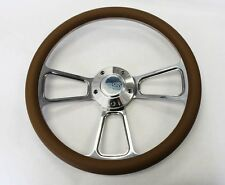 "New Nova Chevelle Steering Wheel Tan and Billet 14"" Very Nice SS Center Cap"