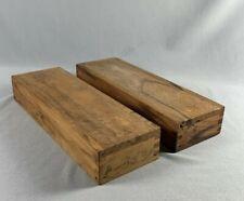 2 Vtg Handmade Wood Pencil Boxes Slide Primitive