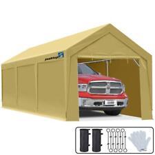 Peaktop Outdoor Beige Carport Canopy 10'x20' Heavy Duty Storage Shed Car Shelter