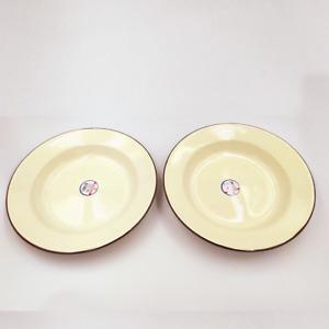 Set 2 pcs enamel camping round dishes brown trim enamelware bowl Plates Vintage