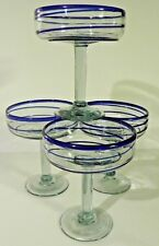 Mexican Hand Blown Blue Swirl Art Glass Large Margarita Glasses  Set of 4 EXC!