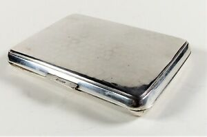 BEAUTIFUL GERMAN Lutz & Weiss SOLID SILVER PLANISHED DESIGN CIGARETTE CASE c1880