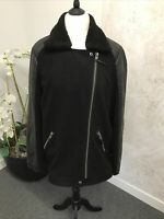Long Tall Sally Black Faux Leather and Wool Jacket Size 16