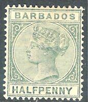 Barbados 1882 dull-green 1/2d perf 14 crown CA watermark mint SG89
