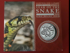 2013 Australian Lunar Year of the Snake 1oz H Relief Proof Coin Boxed with COA#A
