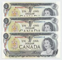 3  x Sequential 1973 $1 Bank of Canada Notes BAD4333111-3 UNC