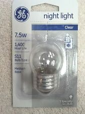 NIGHT LIGHT BULB, 7.5 WATT, GE, MEDIUM BASE, CLEAR, SPECIALTY S11 BULB,