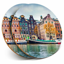 2 x Coasters - Amsterdam Netherlands Houses Home Gift #3036