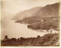 Lago di Lecco e Bellagio Lotto 2 foto originali albumina Bosetti 1880c XL343