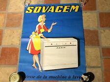 affiche ancienne SOVACEM deesse de la machine a laver 1950 menagere pin up