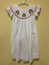 Something Smocked Girl's Smocked Dress Size 5 White Red Trim 3 Bears Exc Cond