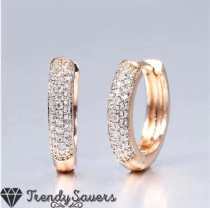 Women 18K Gold Filled Small Huggie Hoop CZ Crystal Sparkle Sleeper Earrings 13MM