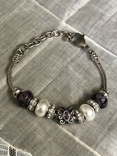 Silver Tone Beaded Butterfly Hand Crafted Bracelet Jewelry YE-25