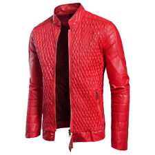 Men's Autumn Leather Jacket Slim Fit Motorcycle Jacket Zipper Casual Coat NEW