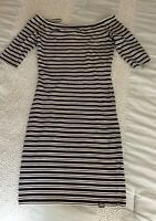Superdry Size Small Off The Shoulder Bodycon Dress Quarter Sleeve Blue/white