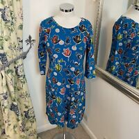Weird Fish Size 10 blue leaf autumn patterned jersey tunic casual sleeve dress